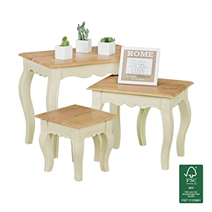 FineBuy mesas nido de tres piezas de Acacia blanca / Mango de madera ...