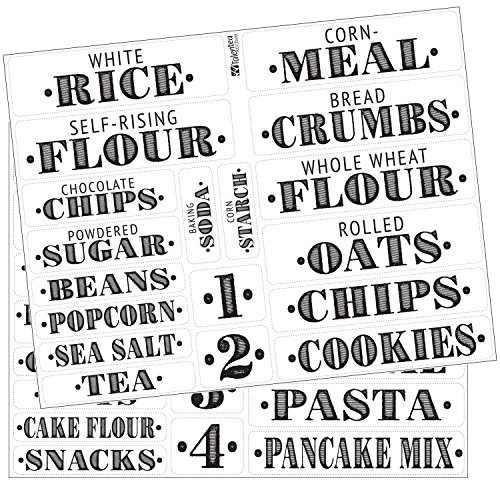 Kitchen Pantry Food Organization Clear PVC Gloss Labels by Talented Kitchen. 36 Preprinted Water Resistant Label Set to Organize your Kitchen Cabinet (Set of 36 - Titles)