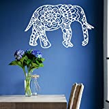 Vinyl Decal Elephant Mandala Wall Meditation Eastern Art Sticker Zen Interior Bohemian Bedding Bedroom Nursery Living Room Yoga Studio Room Home Décor Murals S16