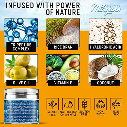 61Uw7gXrKPL - MARYANN Organics Eye Cream - Natural Formula with Hyaluronic Acid, Vitamin E & Aloe Vera - Made in USA - Anti Aging Cream for Women - Reduce Dark Circles, Puffiness, Under Eye Bags, Wrinkles - 1,7 OZ
