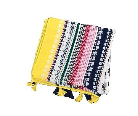 CYSJW-Bufandas Mujeres Idílico Frescos Flores Amarillas Lino Algodón Pañuelos Sunscreen Viajes Toallas De Playa