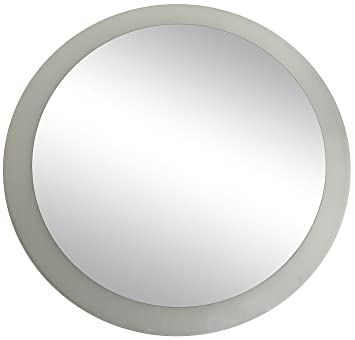 lulu decor frosted border mirror frameless decorative round wall mirror 24 inches