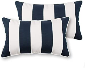 IN4 Care Outdoor Lumbar Pillows with Insert, All Weather Waterproof Throw Pillow for Patio Furniture, Set of 2, 19