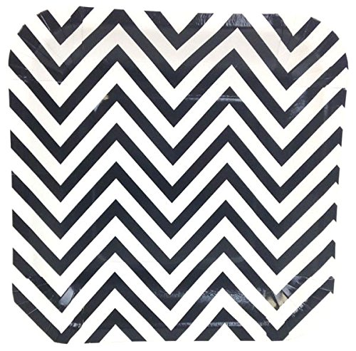 Just Artifacts Square Paper Party Plates 7.25-Inch (12pcs) - Black Chevron - Decorative Tableware for Birthday Parties, Baby Showers, Grad Parties, Weddings, and Life Celebrations! (Chevron Paper Plates Black)