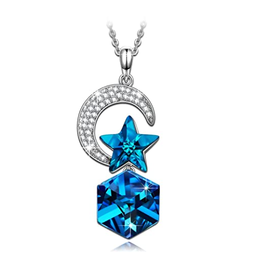 NINASUN Twinkle Star Moon Earrings Necklace 925 Sterling Silver Color-changing Fine Jewelry for Women, Crystals from Swarovski, Hypoallergenic material with Gift box