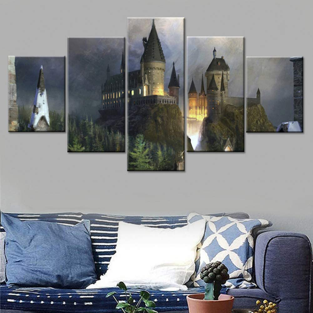 HIOJDWA Painting Framework Abstract Art Wall Modular Picture for Living Room 5 Panel Harry Potter Castle Home Decoration Canvas Prints