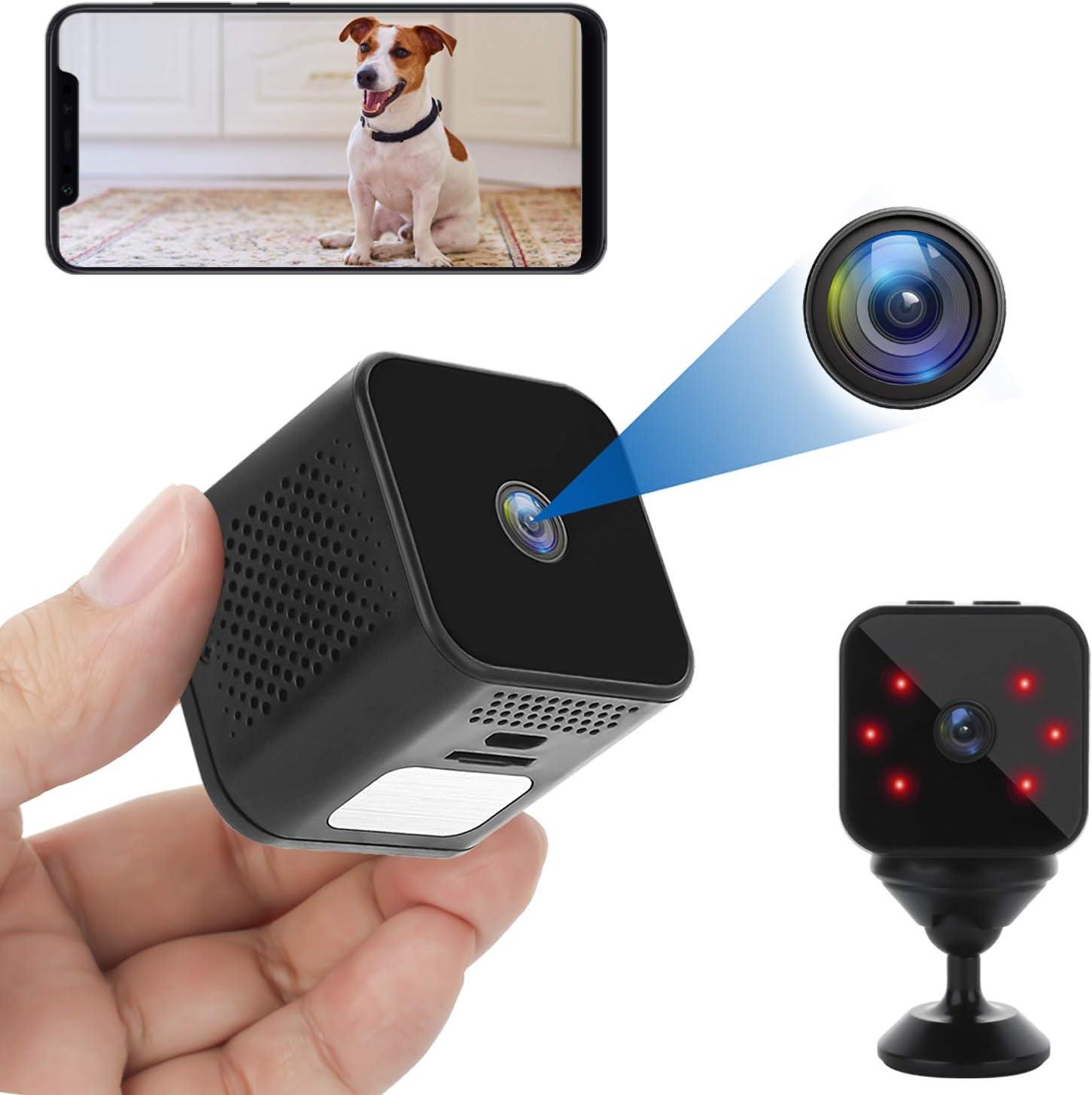 Mini Camara Espia Oculta Videocámara 1080P HD WiFi Cámara Vigilancia Portátil Secreta Compacta con Detección de Movimiento y IR Visión Nocturna Nanny Camara de Seguridad Pequeña para Interior/Exterior