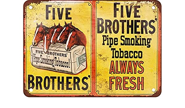 Amazon Com Five Brothers Pipe Tobacco Vintage Look Reproduction Metal Tin Sign 12x18 Inches Home Kitchen