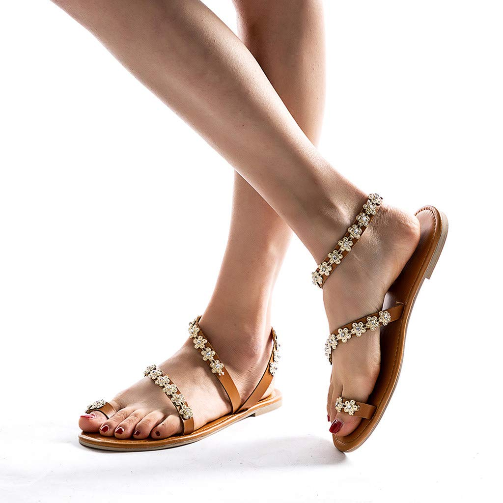Goldweather Womens Flat Sandals Ladies Summer Rhinestone Slippers Casual Beach Shoes