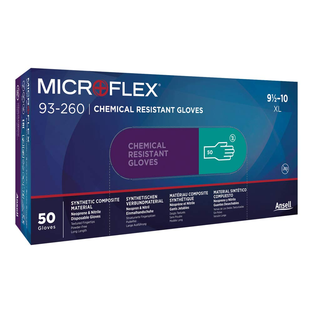 Microflex 93-260 Nitrile-Neoprene Gloves - Disposable, Chemical Resistant,Size XSsmall(Case of 500) by Ansell