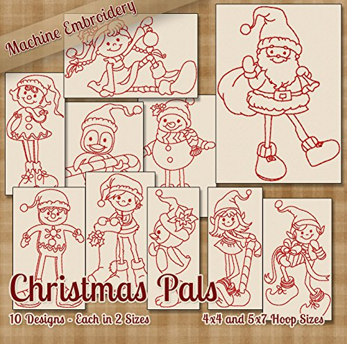 Christmas Pals Redwork Embroidery Machine Designs on CD - 10 Beautiful Outline Style Patterns - 2 Sizes Each - Multiformat - Christmas Embroidery Redwork Machine