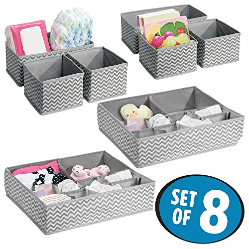 mDesign Soft Fabric Dresser Drawer and Closet Storage Organizer Set for Child/Kids Room, Nursery - Includes Organizer Bins in 3 Sizes - Chevron Zig-Zag Print, Set of 8 - Gray/Cream
