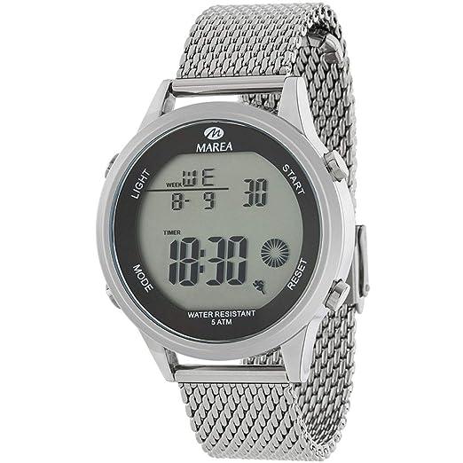 Marea B35303/3 Reloj para Hombre con Malla Milanesa de Acero y Pantalla Digital: Amazon.es: Relojes