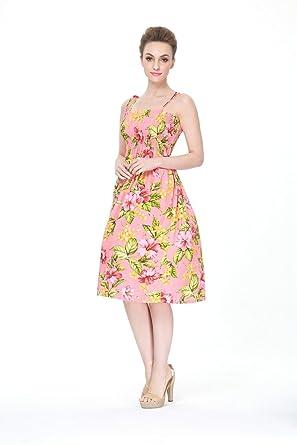Hawaii Hangover Hawaiian Elastic Strap Luau Cruise Dress In Peach Hibiscus Floral