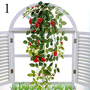 FYYDNZA 1Pcs Artificial Flower Rose Vine Hanging Wall Hanging Orchid Hanging Basket Flower Living Room Balcony Home Decor Flower 70