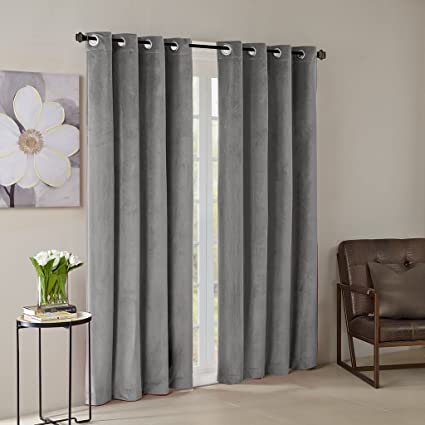 Grey Curtains for Living Room, Modern Contemporary Grommet Room Darkening  Window Curtains for Bedroom, Monroe Solid Velvet Window Curtains, 50X95, ...