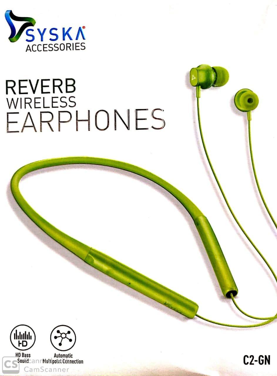 Syska Reverb Bluetooth Earphone Green