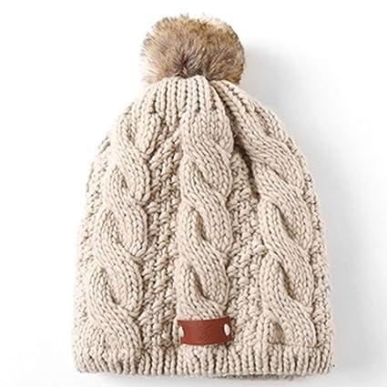 NPWZ Gorro de Lana de otoño e Invierno para Mujer Doble Punto Grueso Cálido  Calor Lindo b7636cbf94e
