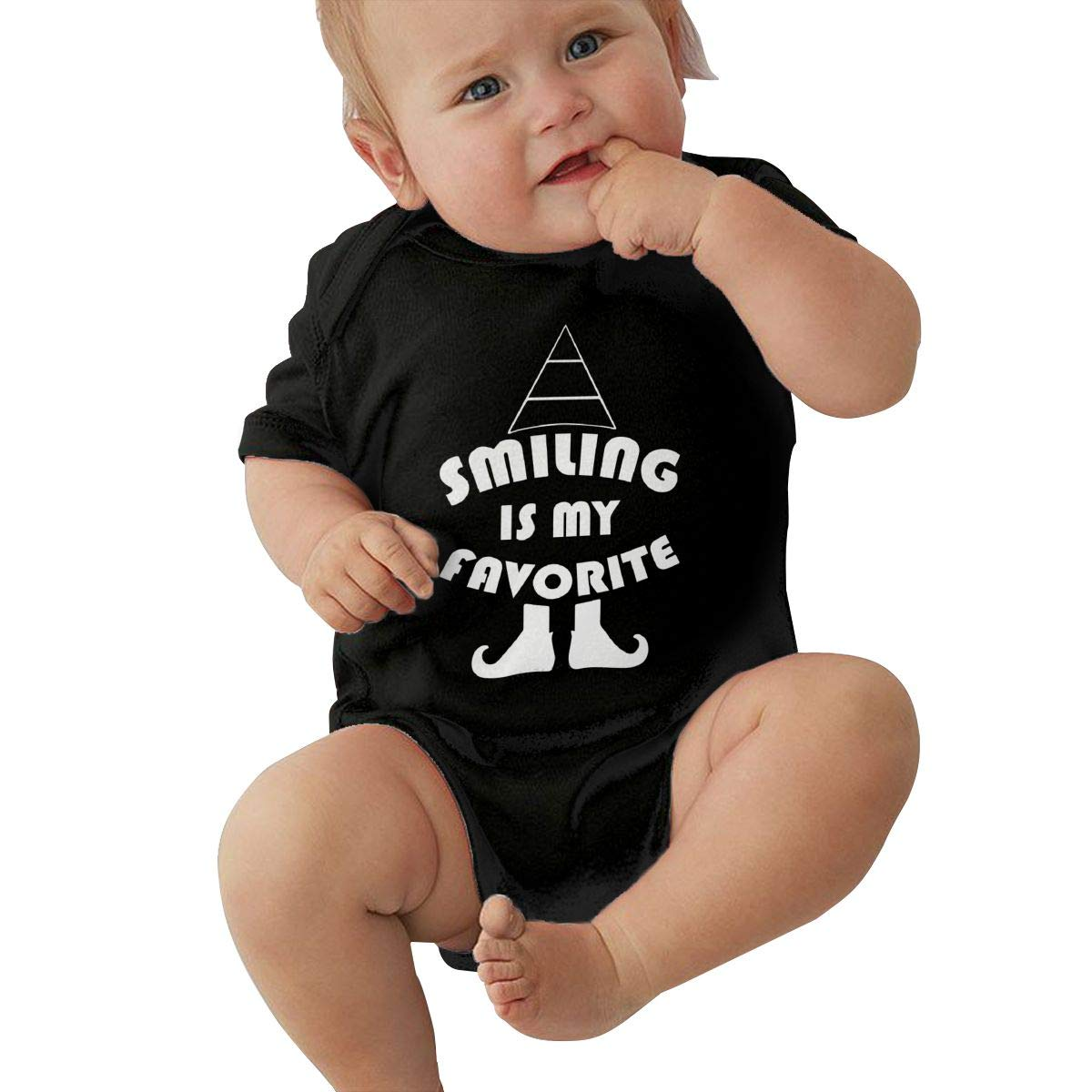 Mri-le2 Baby Girls Short Sleeve Bodysuit Smiling is My Favorite Baby Rompers