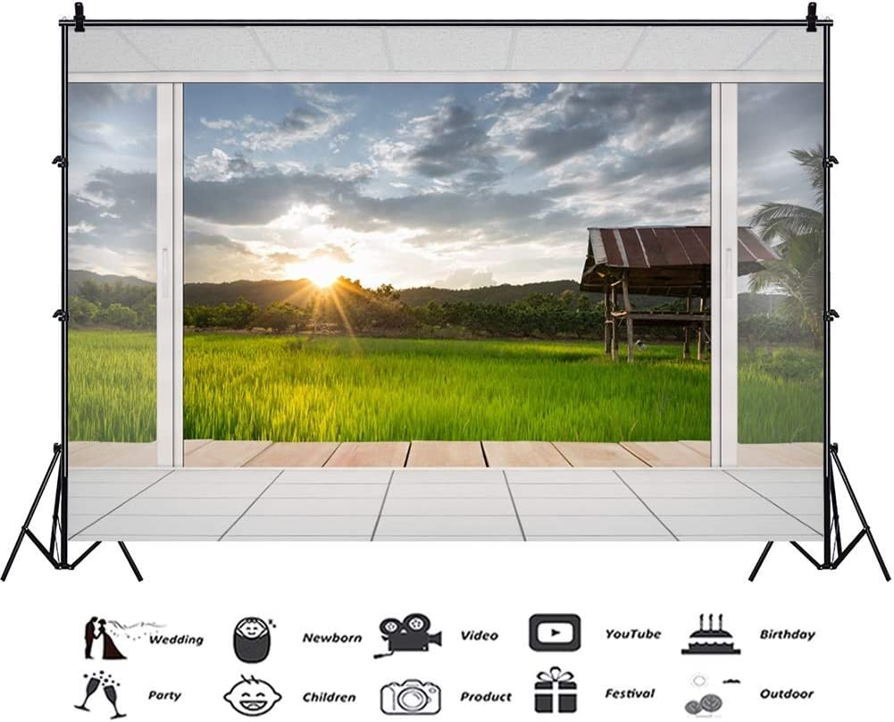 8x6.5ft Dusk Setting Sun French Window Towards Green Farmland Scenic Vinyl Photography Background Outdoor Sightseeing Room Backdrop Holiday Maker Shoot Summer Vacation Wallpaper