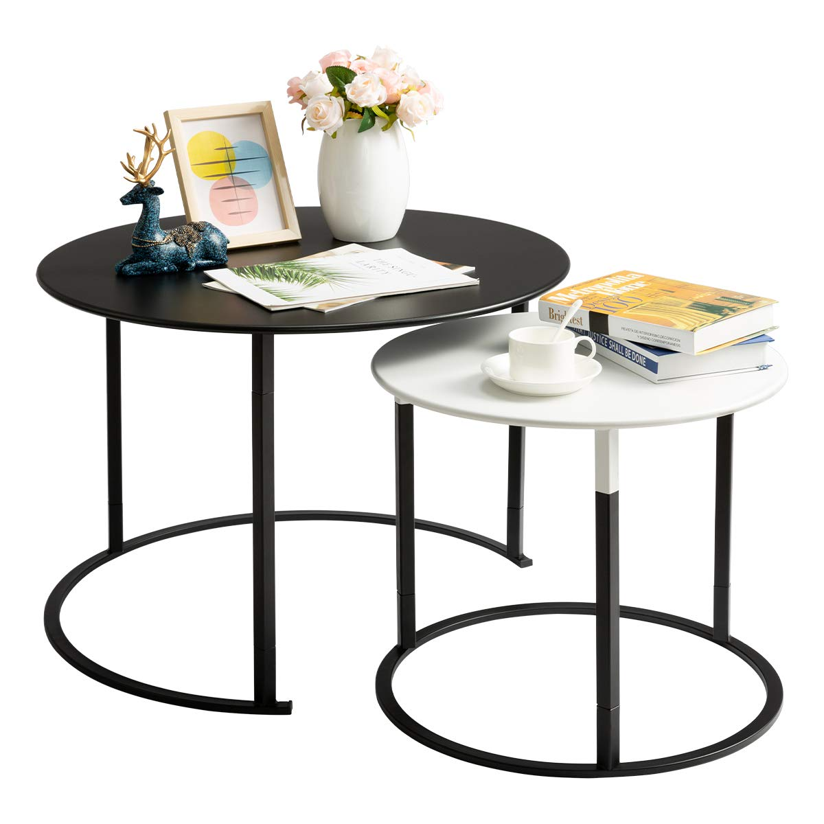 HollyHOME Modern Round Side Table Set of 2, Contemporary Accent Coffee and Snack Mental End Table, Nesting Tea Table for Living Room, (D) 27.56'' x(H) 19.69'', (D) 19.69'' x(H) 15.75'', Black and White by HollyHOME