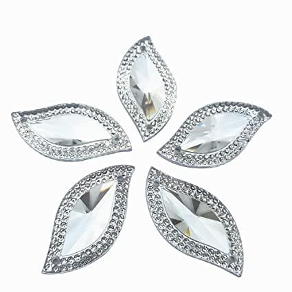 Rhinestones Leaf Shape With Silver Edge Gems Stones and Crystals Wedding  Decoration Sew On For Stick 4198ec843e3e