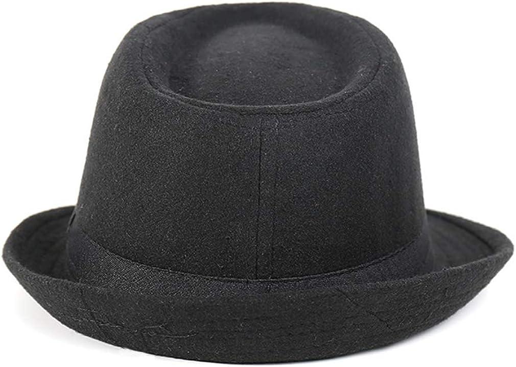 Classic Fedora Hats for Men Braid Straw Short Brim Jazz Panama Cap Woolen Vintage Hat Black