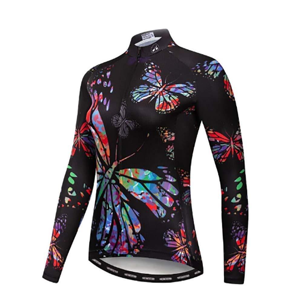 GEETAC Maglia da Ciclismo Autunnale da Donna Maglietta da Ciclista Professionale con Maniche Lunghe in Discesa Mantieni Caldo Il MTB Triathlon Abbigliamento Sportivo allaperto