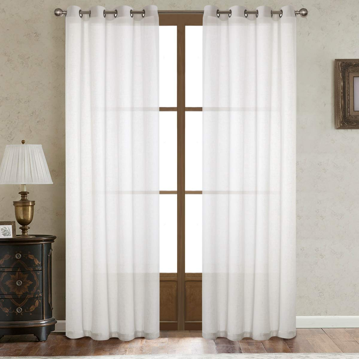 Dreamig Casa Natural Linen Sheer Curtains for Bedroom,Solid Semi Sheer Grommet Top Two Panels for Living Room 2 Panels, 52W x 96L