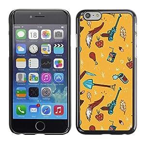 FECELL CITY // Duro Aluminio Pegatina PC Caso decorativo Funda Carcasa de Protección para Apple Iphone 6 Plus 5.5 // Summer Beach Sand Yellow Drawing