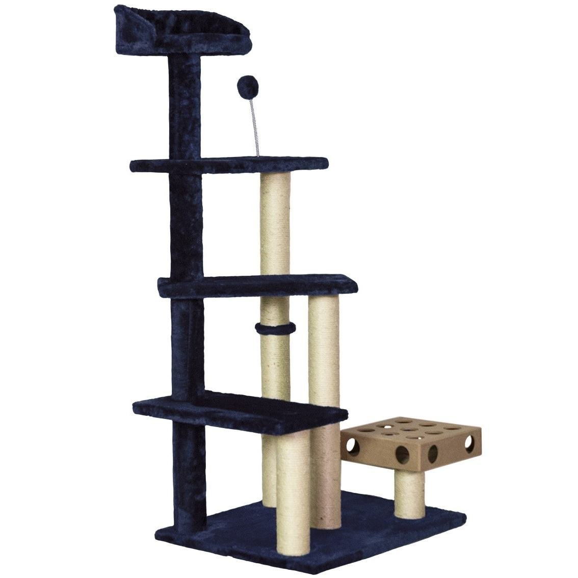 1 Piece Navy Blue 49.5 High Comfort Scratcher Cat Condo, Blue Stairs Pet Tree House Kitty Perch Bed, Stable Playground Climbing Platforms Jingle Bell Ball Iq Toy Elevated Removable Cover, Sisal Rope