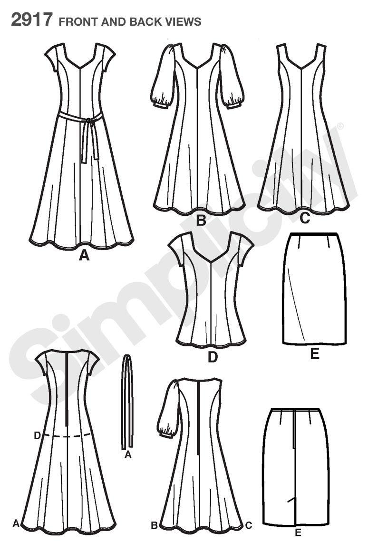 Simplicity 2917 BB - Patrones de costura para vestidos de mujer (tallas grandes): Amazon.es: Hogar