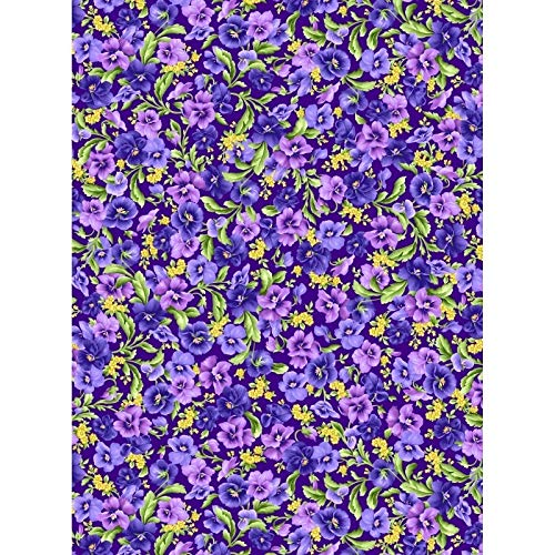 - Emmas Garden~Packed Pansies on Purple Floral Cotton Fabric by Maywood
