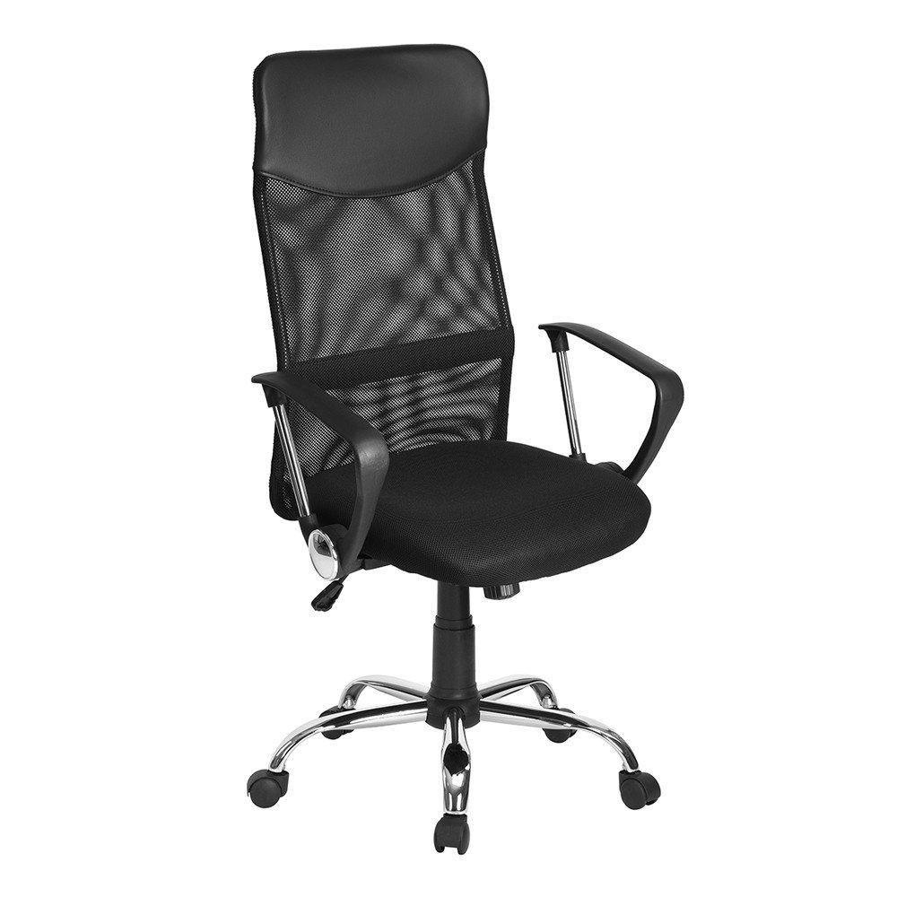 Aingoo Bürostuhl Schreibtischstuhl Chefsessel mit Armlehnen Kopfstütze Bürosessel mit Netzrücken Jugenddrehstuhl Elegante Stuhl Ergonomisch Höhenverstellbar Stuhl In Schwarz