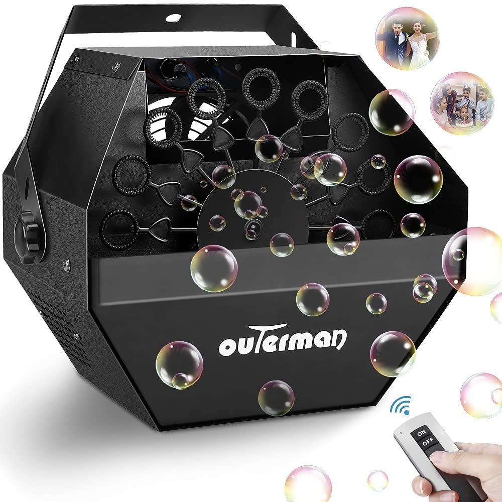 Outerman Bubble Machine Automatic Bubble Blower with Large High-Speed Fan and Portable