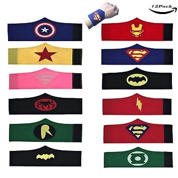 LMYTech Pack de 12 Pulseras de Superhéroe para Niños Brazalete de Fieltro de Superhéroe / Superhero Slap Pulsera / Superhéroes Fiesta de Cumpleaños ...