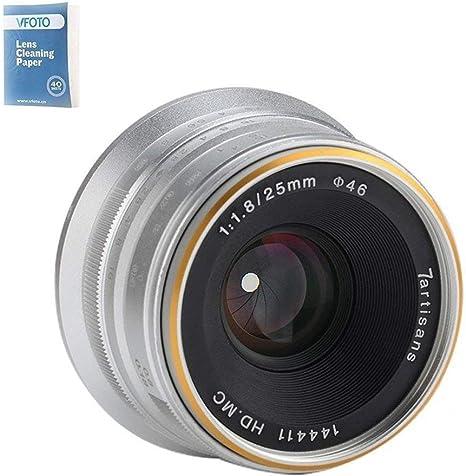 7artisans 25mm F1.8 APS-C Frame Manual Focus Prime Fixed Lens for Micro Four Thirds Panasonic GH3 GH4 Olympus EM5 EM10 (Silver): Amazon.es: Electrónica