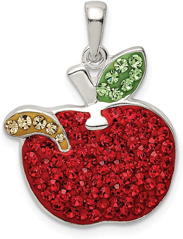 Solid 925 Sterling Silver Red Preciosa Crystal Apple Worm Pendant Charm - 19mm x 19mm