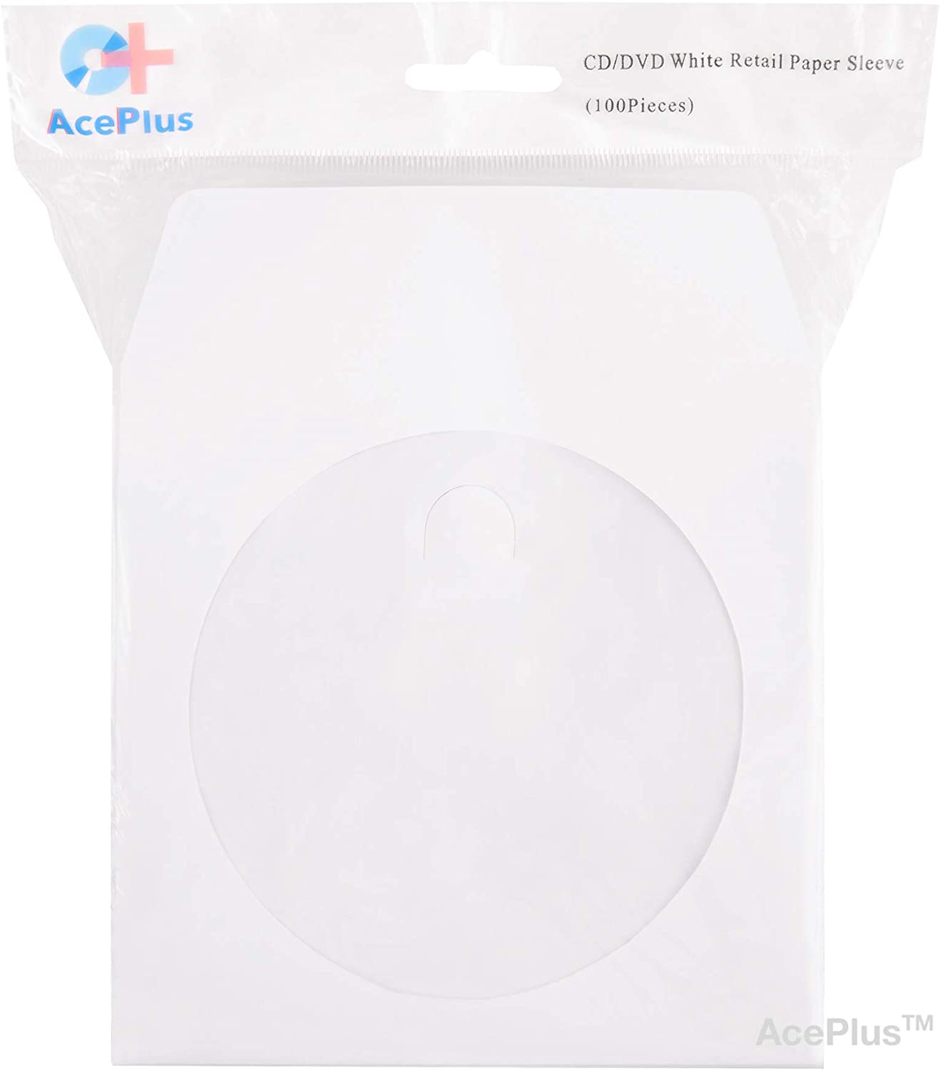 Envelopes with Clear Window and Flap with Close Tab AcePlus 1,000 Premium White Paper Sleeves 100g Weight for CD 1 Box of 10 packs x 100 Sleeves DVDs