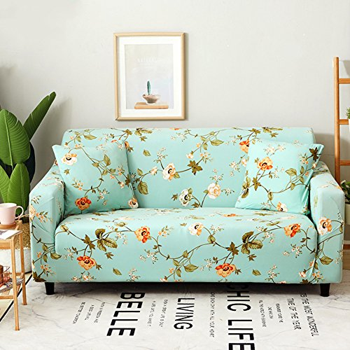 (Wayward Polyester Elastic Slipcover Sofa,Floral Printed Sofa Cover Dust-Proof Couch All-in-one Anti-Slip Furniture Protector for 1 2 3 4 Cushions Sofa for Pet and Children Couch Covers-B Love Seats)