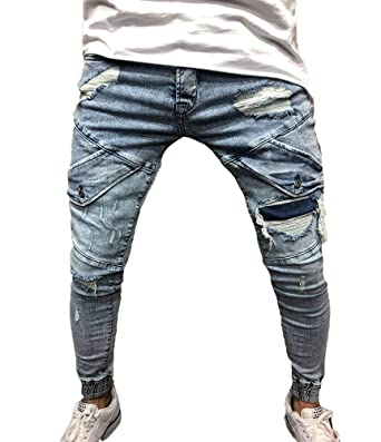 Huateng Moda Holes Pantalones Hombre Pantalones Pitillo Slim ...