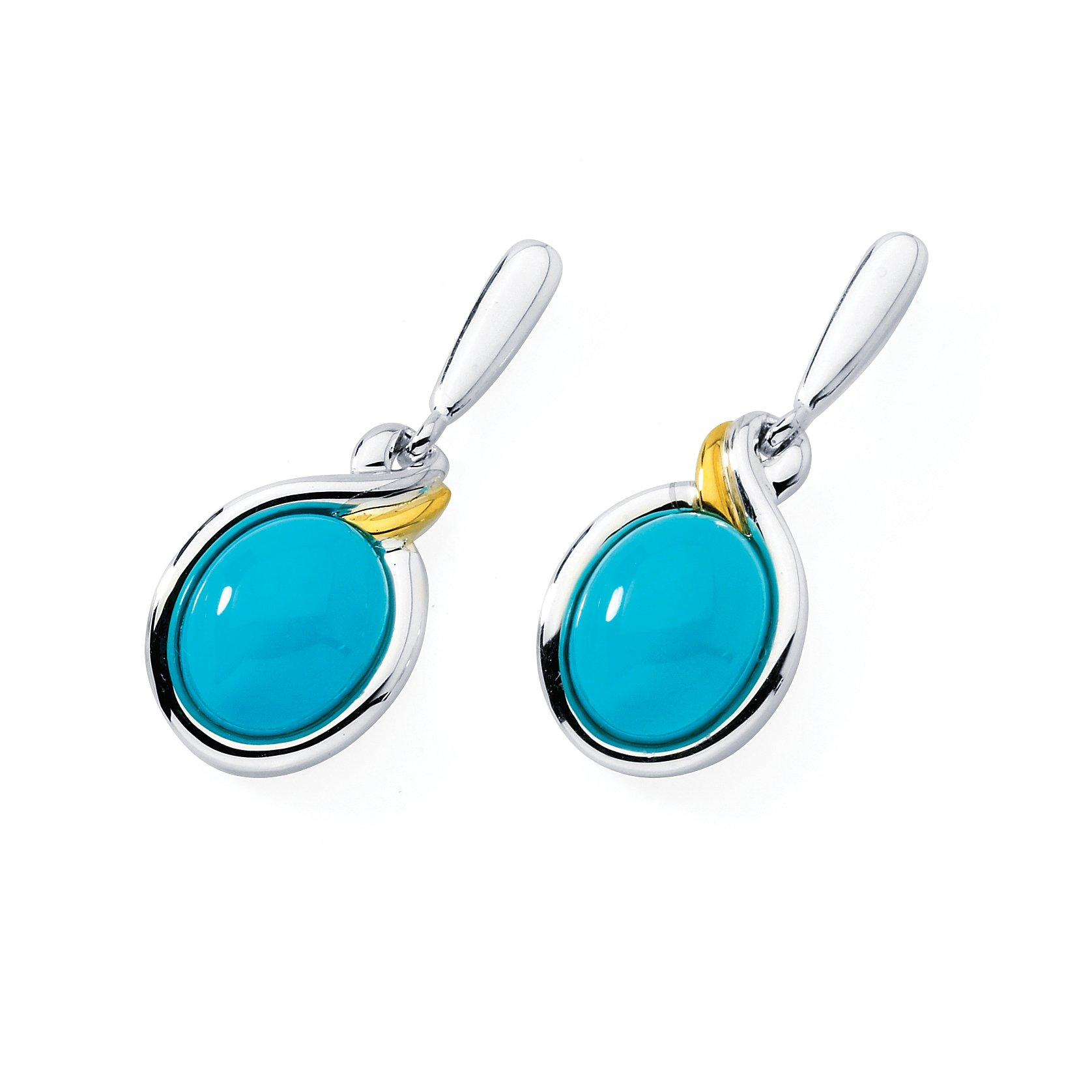 18K Gold and Sterling Silver Turquiose Dangle Earrings by Boston Bay Diamonds (Image #1)
