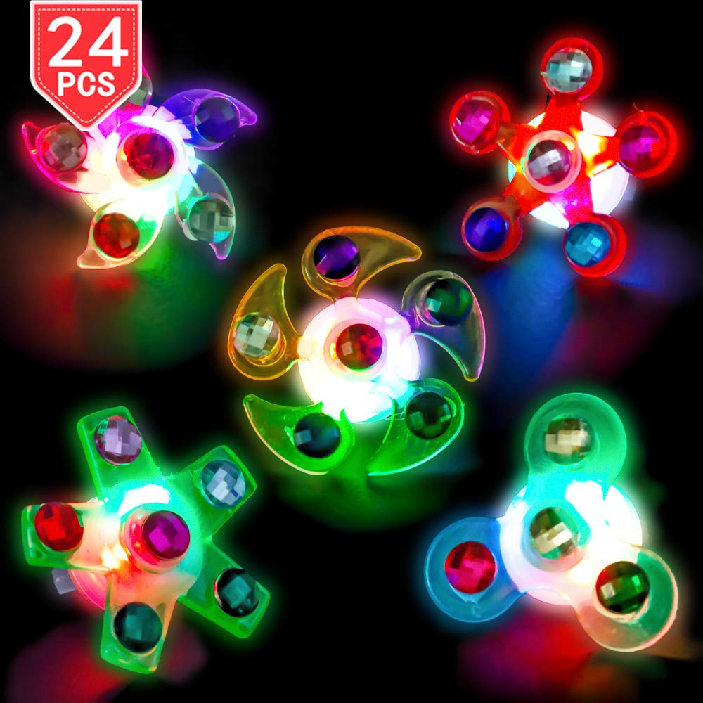 PROLOSO LED Rings Light Up Fidget Toys Glow in The Dark Party Favors Spiral Twister Toys Gyro Flashing Jewelry 24 Pcs by PROLOSO