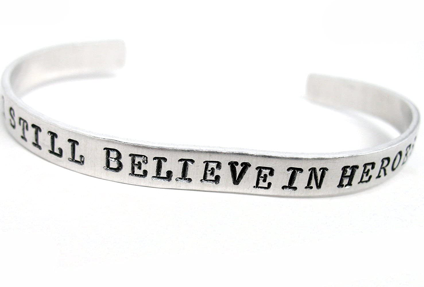 Amazon.com: I Still Believe In Heroes - Hand Stamped Bracelet - Inspired by The Avengers: Sports Fan Bracelets: Jewelry