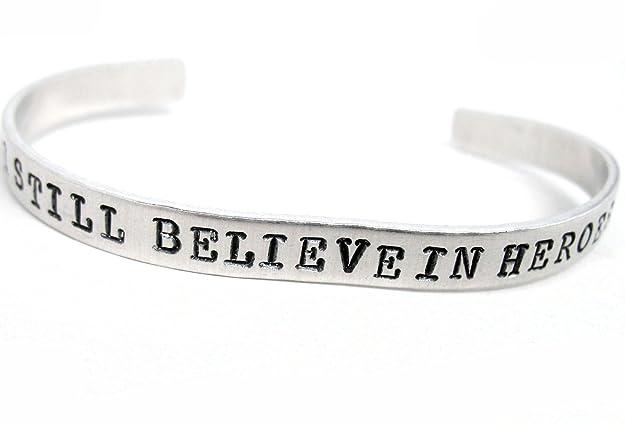 Amazon.com: I Still Believe In Heroes - Hand Stamped Bracelet - Inspired by The Avengers: Sports Fan Bracelets: Jewelry