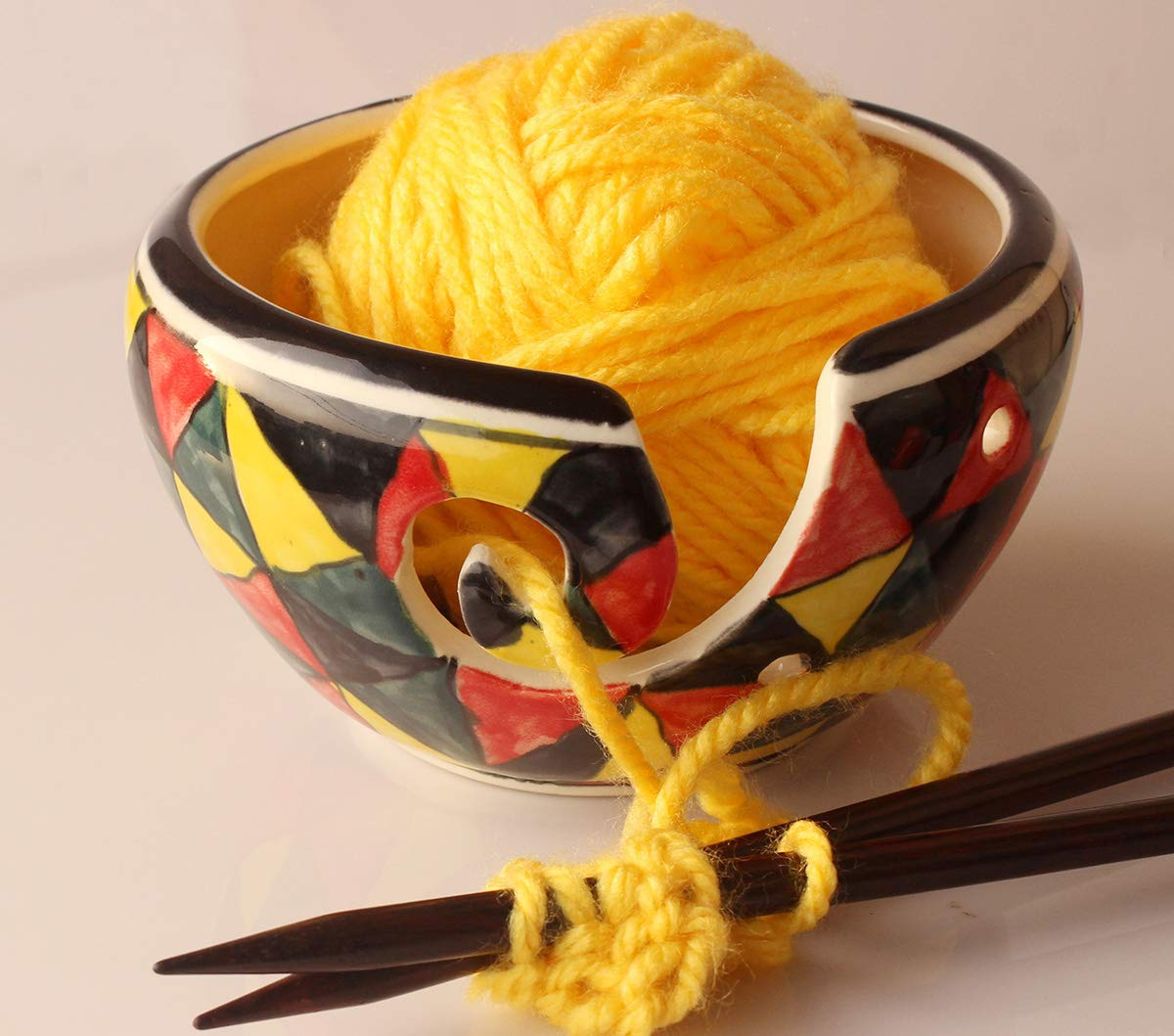 abhandicrafts - Yarn Bowl 6 inch for Knitting, Crochet for Moms, Grandmothers 4336930717