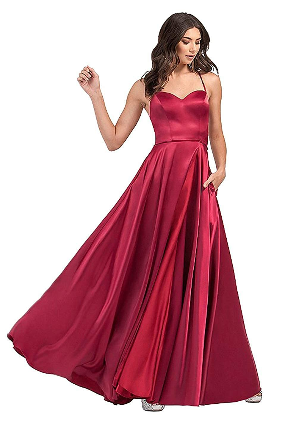 Dark Red NewFex Halter Prom Gowns with Pockets Satin Split Formal Evening Dresses for Women