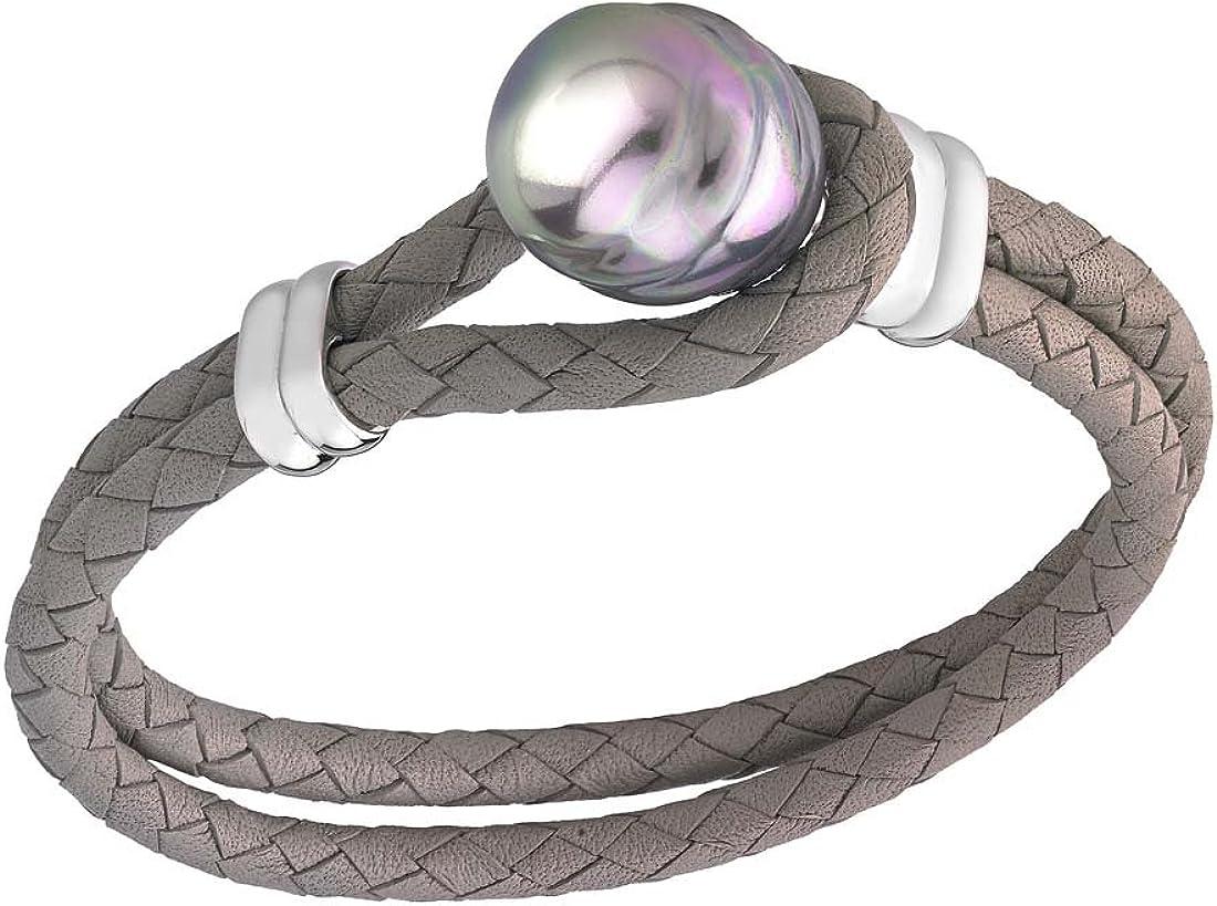 Marrimpouey - Pulsera de latón con perla (19 cm)