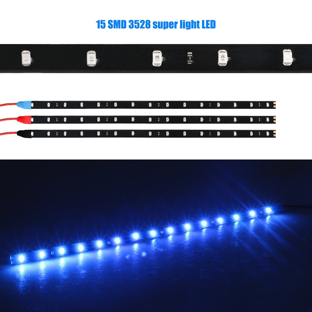 CCCYMM 6PCS Waterproof DC 12V Motor LED Strip Underbody Light For Car Motorcycle