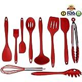 THKJW Utensilios De Cocina De Silicona 10 Juegos, De Alta Calidad Resistente Al calor Antiadherente Fácil De Limpiar Cocina Herramientas De Hornear (10, Rojo)